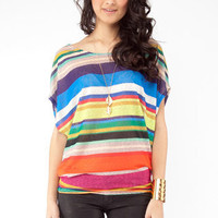 Striped Flowy Tee in Blue Multi :: tobi