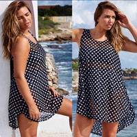 Polka Dot Chiffon Swimsuit Cover Up