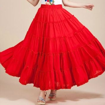 New 2016 women's 13 color big ruffles ankle-length chiffon skirts,plus size candy color bohemian skirts, WOMEN party skirts