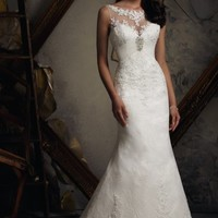 Beaded Chantilly Lace by Blu by Mori Lee