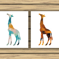 Geometric Giraffe Art - Four 8x10 Prints - Instant Download - Giraffe Prints - Geometric Patterns - Classroom, Nursery, Dorm, Home Decor