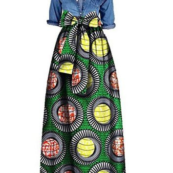 Streetstyle  Casual Bowknot Printed Flared Maxi Skirt