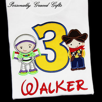 Space Explorer as Buzz and Sheriff Cowboy as Woody Custom Embroidered Personalized Birthday Shirt or Bodysuit for Any Age-A Story of Toys