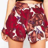 Oh My Love Flared Shorts in Autumn Leaves Print