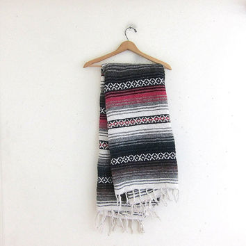 Vintage pink and gray Mexican Striped Ethnic Lap Blanket