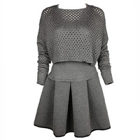 Grey Long Sleeve Hollow Slim Knit Dress