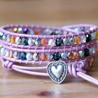 Beaded leather wrap bracelet, Bohemian trendy jewelry, pink, silver, heart, boho chic, Small Wrist, gift idea, hipster, 15%OFF code SUMMER15