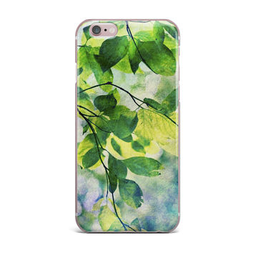 """Sylvia Cook """"Leaves"""" Teal Green iPhone Case"""