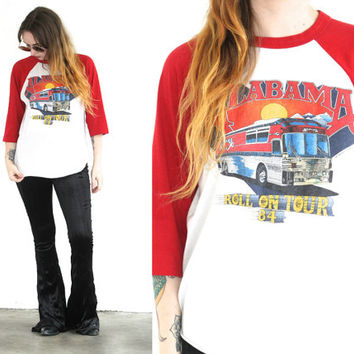 Vintage 1984 ALABAMA Band ROLL ON Tour Baseball T Shirt // World Band Tee // Hipster Biker Boho // Small / Medium / Large