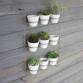 White Wash Clay Pots on Copper Finish Wall Rack (Set of 9)
