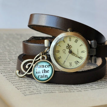 Vintage Look Leather Wrap Watch, Brown Leather Vintage Watch, Wrist Watch Women Accessories Inspirational Quote