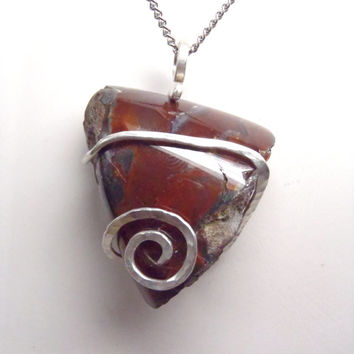 Natural Raw Red Moss Agate Crystal Stone Wire Wrapped Pendant Necklace Sterling Silver .925 Tension Set Oregon State FREE SHIPPING