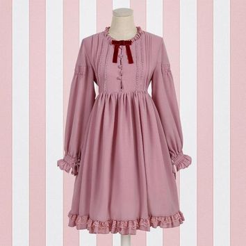 Japanese style soft sister lace lantern long sleeve lolita dress female mori girl 2018 summer new patchwork high waist dressL349