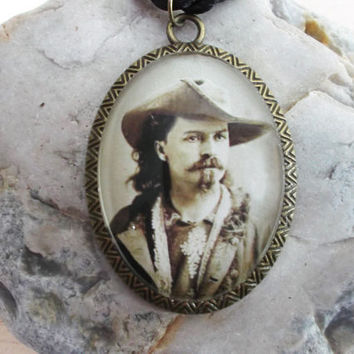 Buffalo Bill photo pendant necklace, vintage sepia photo, antique bronze, black silk cord, American Old West necklace; UK seller