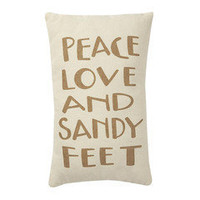 Peace, Love & Sandy Feet Pillow ? French Beach House Decor & Furniture