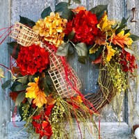 Fall Hydrangea Grapevine Wreath, Fall Wreaths For Front Door, Front Door Hanger, Autumn Wreath, Large Fall Door Hanger, Fall Leaves