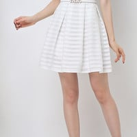 White Stripe Print Mini Summer dress