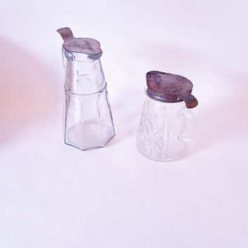 Antique Glass Syrup Pitchers Small Cut Glass Pitchers Glass Pitchers With Metal Lids Set of Cut Glass Creamer Bottles Original Metal Lids