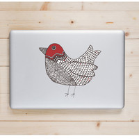"Red Doodle Bird Die Cut Sticker // Woodland Decal // Computer & Tablet XL Size // 8"" // Perfect For Indoor, Outdoor, Laptop, Car"