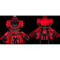 Free Shipping Sexy Sissy Maid Satin Red Dress Lockable Uniform Cosplay Costume Tailor-made [G463] - $112.11 : Fond Cosplay