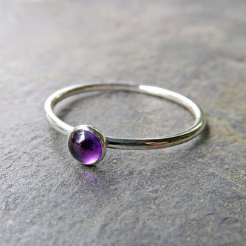 4mm Amethyst Stacking Ring in Sterling Silver - Choose Smooth, Hammered, or Antiqued Finish - Round Cabochon February Birthstone Ring