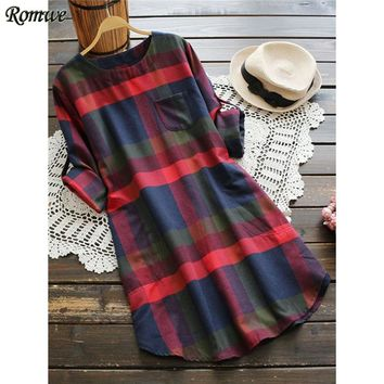 Multi color Checked Mini Dress Woman Casual Plaid Rolled Long Sleeve Dresses Fall Fashion New Chest Pocket Tunic Dress