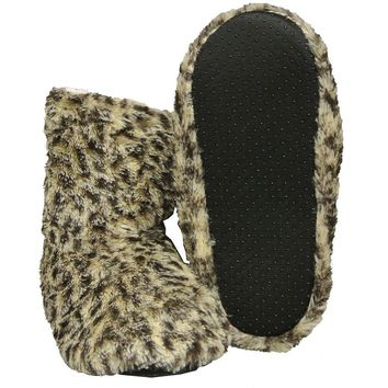 Women's Animal Print Slippers Fuzzy Boot House Shoes Size Medium