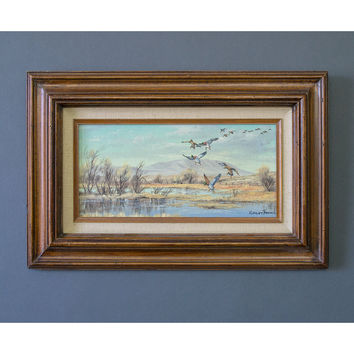 SALE - Vintage Oil Painting - Winter Landscape Painting - Robert Thomas Original Artwork - Oil on Canvas Nature Painting - Framed Painting