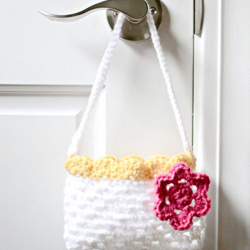 Crochet Child's Purse - Crochet Tote For Children - Mini Purse w/ Pink Flower - Toddler Purse - Baby Purse - Crochet Bag