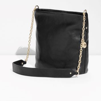 & Other Stories | Leather Bucket Bag | Black