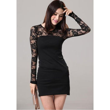 Black Lace Long Sleeved Mini Dress