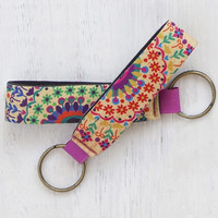 Neoprene Key Fob Floral Design By Natural Life