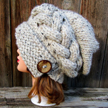 Oatmeal Cloche - Slouchy Hat With Button - Cable Knit Hat - Flapper Hat - 1920s cloche hat - Women's chunky hat - Knit Accessories