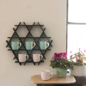 Coffee Rack Black Kitchen Shelf Mug Display Holder