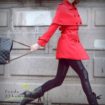 The Handsome Girl/wool coat/jacket/custom made/red/camel