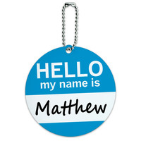Matthew Hello My Name Is Round ID Card Luggage Tag