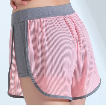 Lining yoga fitness exercise shorts, women running net gauze splicing fitness pants