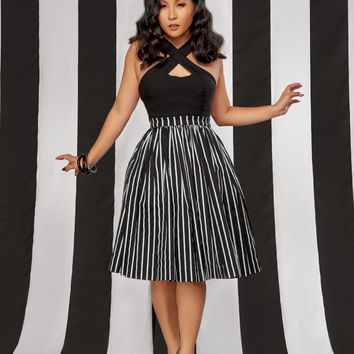 Pinup Couture Petite Jenny Skirt in Victorian Stripe