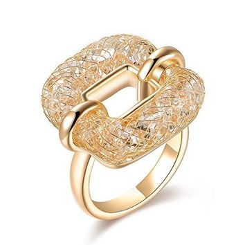 Mytys 18K Rose Gold Statement Ring for Women Fashion Mesh Crystal Costume Jewelry size 69