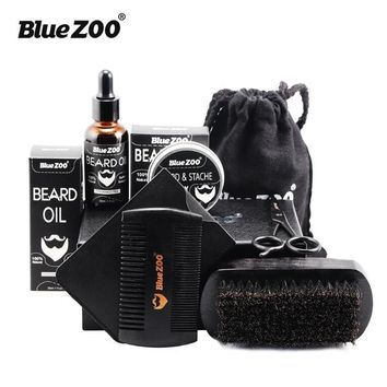 Black & Brown Bluezoo Moustache Care Kit Includes Oil, Wax, Double Face Comb, Brush, Cloth Bag, Small Scissors 7 Piece Beard Set
