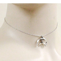 METAL CHAIN HALF MOON PENDANT CHOKER NECKLACE & HALF MOON POST EARRINGS - SILVER