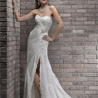 Romantic Straps sweep train lace a-line fall wedding dresses 2012 BAML0058