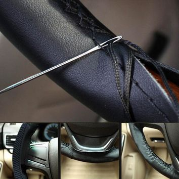 Superfine Fiber Leather DIY Car Steering Wheel Cover With Needle and Thread Car-Styling Accessories