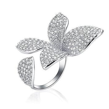 Crystal Butterfly Statement Cocktail Ring