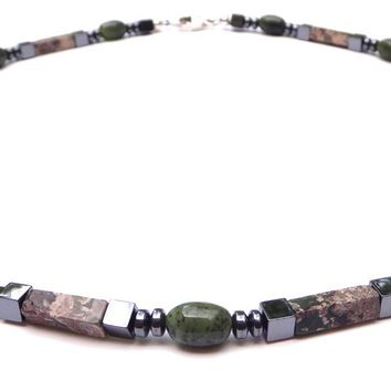 Mens Chakra Necklace Jade & Rhyolite Crystal Healing Stones Energy Balancing Jewelry CREATIVITY  MN37