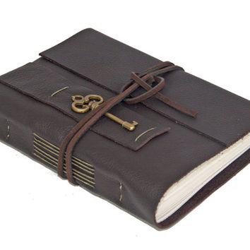 Dark Brown Leather Wrap Journal with Lined Paper and Key Charm Bookmark - Ready to ship