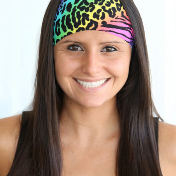 Rainbow Animal Print | Fitness headband | Yoga headband | Fashion headband | Spandex | Non-slip headband | Bandana | Buy Any 5, Get 1 FREE!