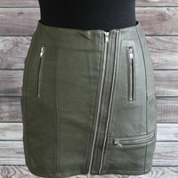 Olive Vegan Leather Skirt