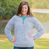 Heathered Quarter Zip Sherpa Pullover in Quarry Grey by The Southern Shirt Co.