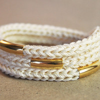 Beige wrap bracelet with gold bars, knit bracelet with gold tubes, bracelet or necklace